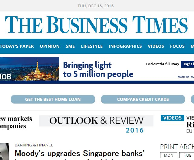 Small article for our service in the Business Times Singapore